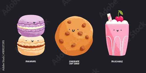 Aluminium Macarons Cute desserts illustration, set 1