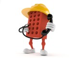 Brick character holding a telephone handset - 189338556