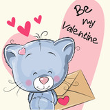 Valentine card with cute cartoon Kitten