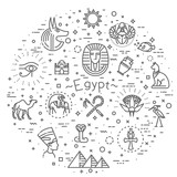 Egypt icons and design elements isolated. - 189344146