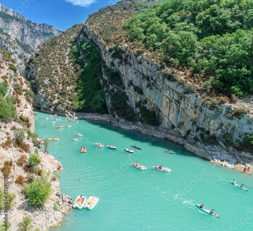 Travelling on canoes along the Verdon River. France. 2017.07.30.