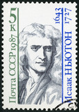 USSR - 1987: shows Sir Isaac Newton (1642-1727), English physicist and mathematician, series Scientists