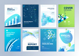 Set of brochure, annual report, flyer design templates in A4 size. Vector illustrations for business presentation, business paper, corporate document cover and layout template designs. - 189361575