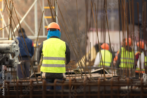 Group of builders at the construction site