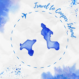 Cooper Island watercolor island map in blue colors. Travel to Cooper Island poster with airplane trace and handpainted watercolor Cooper Island map on crumpled paper. Vector illustration. - 189363921