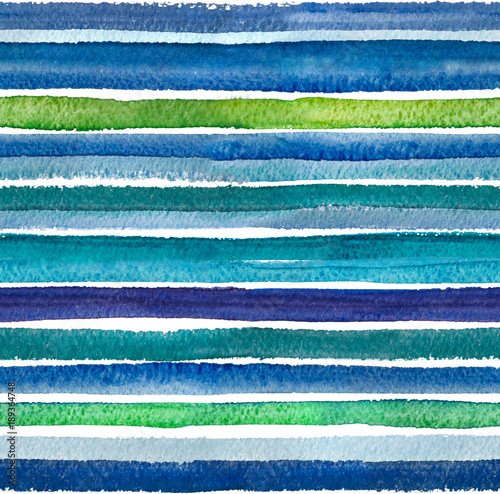 Cotton fabric Watercolor background. 2d hand drawn seamless pattern with colorful stripes, dots and waves. Turquoise blue ornament. Isolated on white backdrop