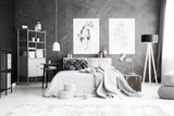 Grey bedroom interior with drawing - 189367973