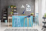 Modern kitchen island in apartment - 189369579