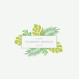 Monstera Tropical Leaves Fashion Sign or Logo Template. Abstract Green Foliage with Rectangle Border and Classy Typography. Pastel Colors.