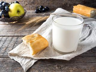 Village Breakfast Milk Bread Apples Grapes on Towel Wooden table