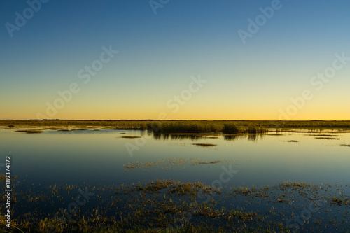 Fotobehang Blauwe jeans USA, Florida, Evening atmosphere over everglades national park with beautiful reflections