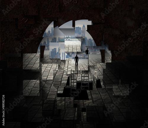Miasto widziane z otwarcia tunelu