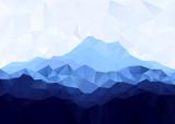 Triangle geometrical background with blue mountain range . Raster illustration.