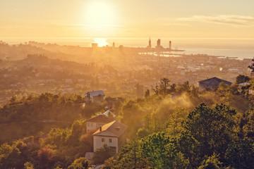A beautiful sunset over the Georgian city of Batumi. Aerial view