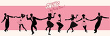 Swing Party Time: Silhouettes of four young couples wearing retro clothes dancing swing or lindy hop