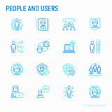 People and users thin line icons set: management, communication, human resouses, teamwork, candidate. Modern vector illustration. - 189390176