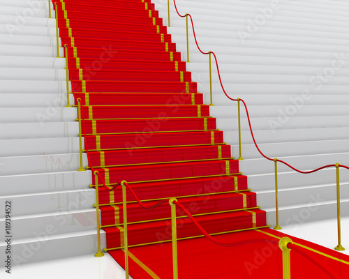 Красная ковровая дорожка с ограждением