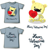 funny valentine shirt printing with  teddy bear holding a patched heart -  flat design vector