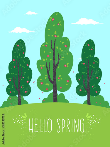 Foto op Plexiglas Lichtblauw Spring Landscape with Green Trees and Hello Spring Text. Flat Design Style.
