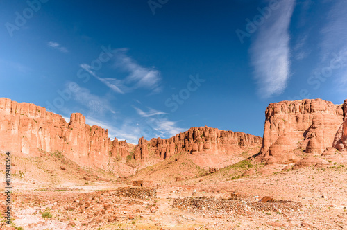 View on rocks by Djebel Saghro in mountain landscape in Morocco