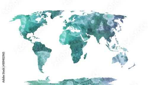 Fototapeta World map blue watercolor pattern, high detailed