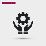 Gear on hand icon simple business vector sign - 189406332