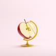 Red Half Apple global idea concept on pink color pastel background. minimal idea concept. - 189419123