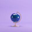 blue Apple global idea concept on magenta color pastel background. minimal idea concept. - 189419132