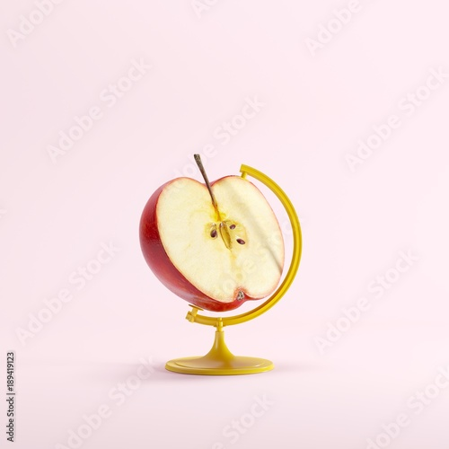 Red Half Apple global idea concept on pink color pastel background. minimal idea concept. - 189419123