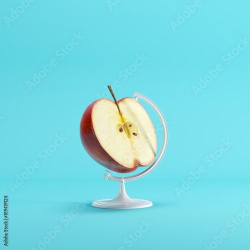 Red half Apple global idea concept on blue color pastel background. minimal idea concept. - 189419124