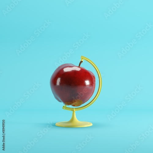 Red Apple global idea concept on pink color pastel background. minimal idea concept. - 189419130