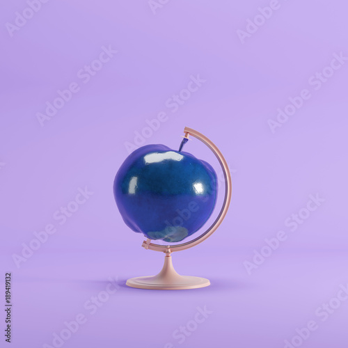 blue Apple global idea concept on magenta color pastel background. minimal idea concept. - 189419132