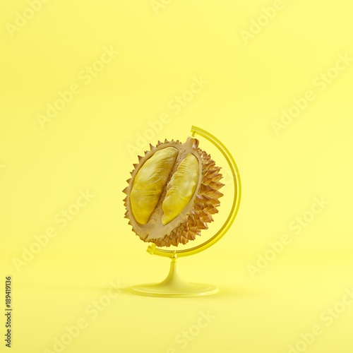 Durian global idea concept on yellow color pastel  background. minimal idea concept. - 189419136