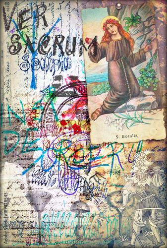 Foto op Canvas Imagination Manoscritti,disegni,scrapbooks e collage con simboli esoterici,astrologici e alchemici