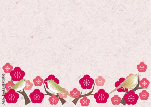 梅とウグイスとメジロ・和紙背景
