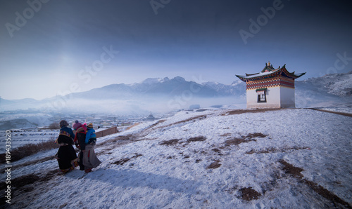 the landscape of Langmusi Temple in Sichuan, China © 辉 李