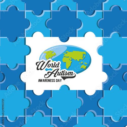 Fotobehang Wereldkaarten World Autism Awareness Day design