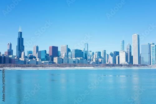 Fotobehang Chicago Winter Chicago skyline