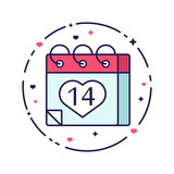 Valentines Day calendar page. Line icon with heart. Vector flat illustration. - 189435711