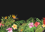 Dark background with tropical flowers and leaves - 189437703