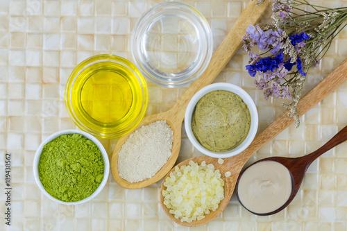 Foto Murales Australian Clay Powder, Coconut oil, Jojoba Golden Oil, Ground green tea, Matcha Green tea scrub to make home spa beauty skin product