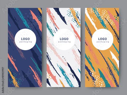 Fototapeta Branding Packaging pattern abstract brush background, Vertical banner for brochure poster, vector illustration