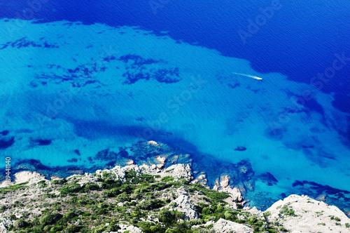 Foto op Canvas Donkerblauw aerial View of coast of San Teodoro, Sardinia