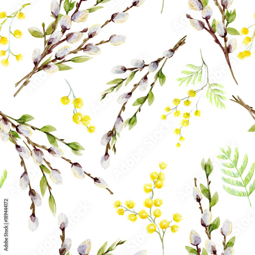 fototapeta na ścianę Watercolor vector willow tree pattern