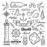 Sailor vector set. Sea and ocean theme hand drawn graphics
