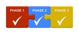 3 Puzzle Buttons zeigen Phase 1 2 3 - 189454196