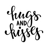 hugs and kisses. Hand drawn creative calligraphy and brush pen lettering isolated on white background. design for holiday greeting card and invitation wedding, Valentine s day and Happy love day.