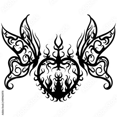 Tuinposter Vlinders in Grunge Tattoo sketch vector heart with butterfly