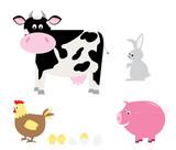set of flat style cartoon farm animals / vector illustration for children
