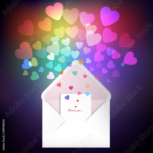 Vector illustration. Envelope and card with a multicolored hearts.  Valentine's Day or wedding.